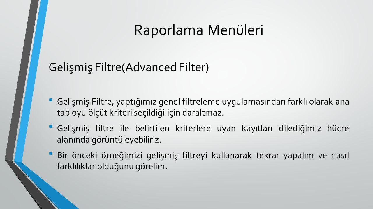 Raporlama Menüleri Gelişmiş Filtre, yaptığımız genel filtreleme uygulamasından farklı olarak ana tabloyu ölçüt kriteri seçildiği için daraltmaz.