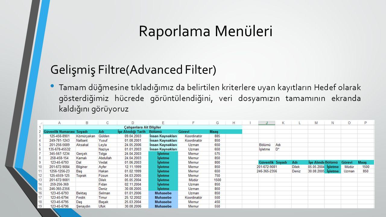 Raporlama Menüleri Tamam düğmesine tıkladığımız da belirtilen kriterlere uyan kayıtların Hedef olarak gösterdiğimiz hücrede görüntülendiğini, veri dosyamızın tamamının ekranda kaldığını görüyoruz Gelişmiş Filtre(Advanced Filter)