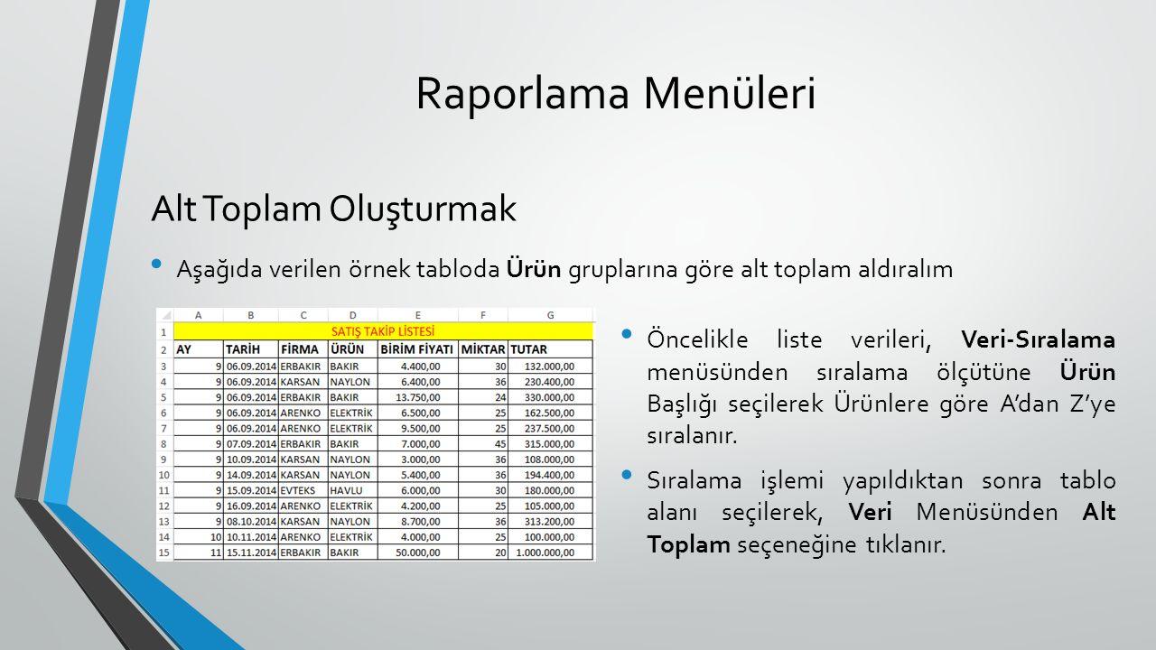 Raporlama Menüleri Aşağıda verilen örnek tabloda Ürün gruplarına göre alt toplam aldıralım Alt Toplam Oluşturmak Öncelikle liste verileri, Veri-Sıralama menüsünden sıralama ölçütüne Ürün Başlığı seçilerek Ürünlere göre A'dan Z'ye sıralanır.