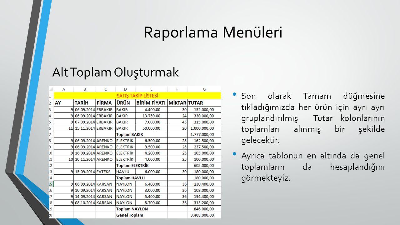 Raporlama Menüleri Alt Toplam Oluşturmak Son olarak Tamam düğmesine tıkladığımızda her ürün için ayrı ayrı gruplandırılmış Tutar kolonlarının toplamları alınmış bir şekilde gelecektir.