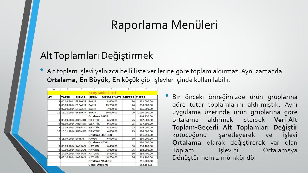 Raporlama Menüleri Alt toplam işlevi yalnızca belli liste verilerine göre toplam aldırmaz.