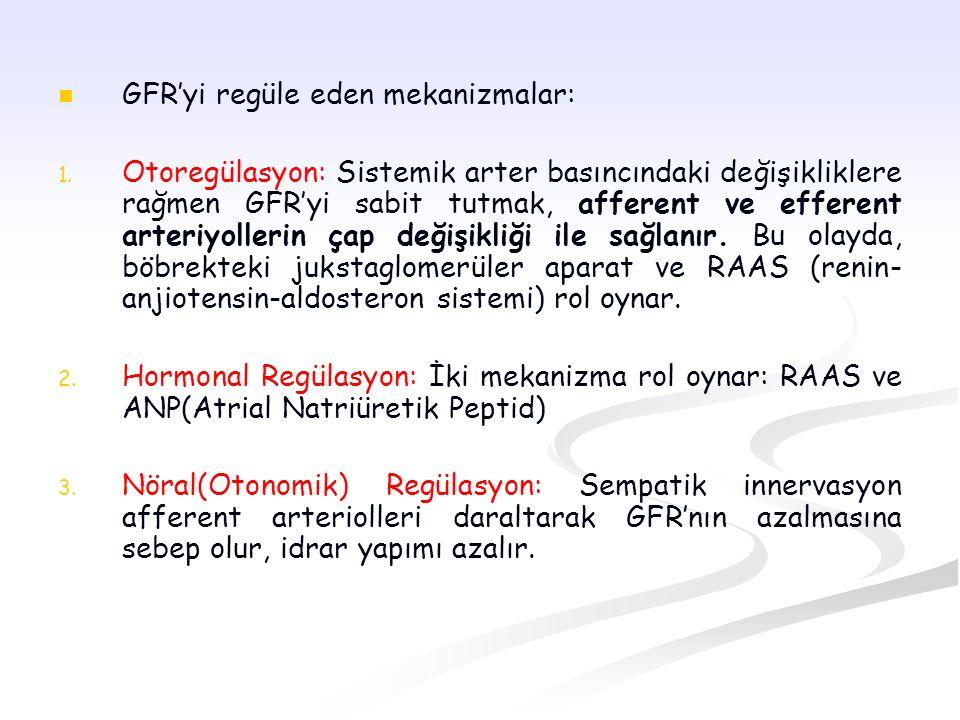 GFR'yi regüle eden mekanizmalar: 1. 1. Otoregülasyon: Sistemik arter basıncındaki değişikliklere rağmen GFR'yi sabit tutmak, afferent ve efferent arte