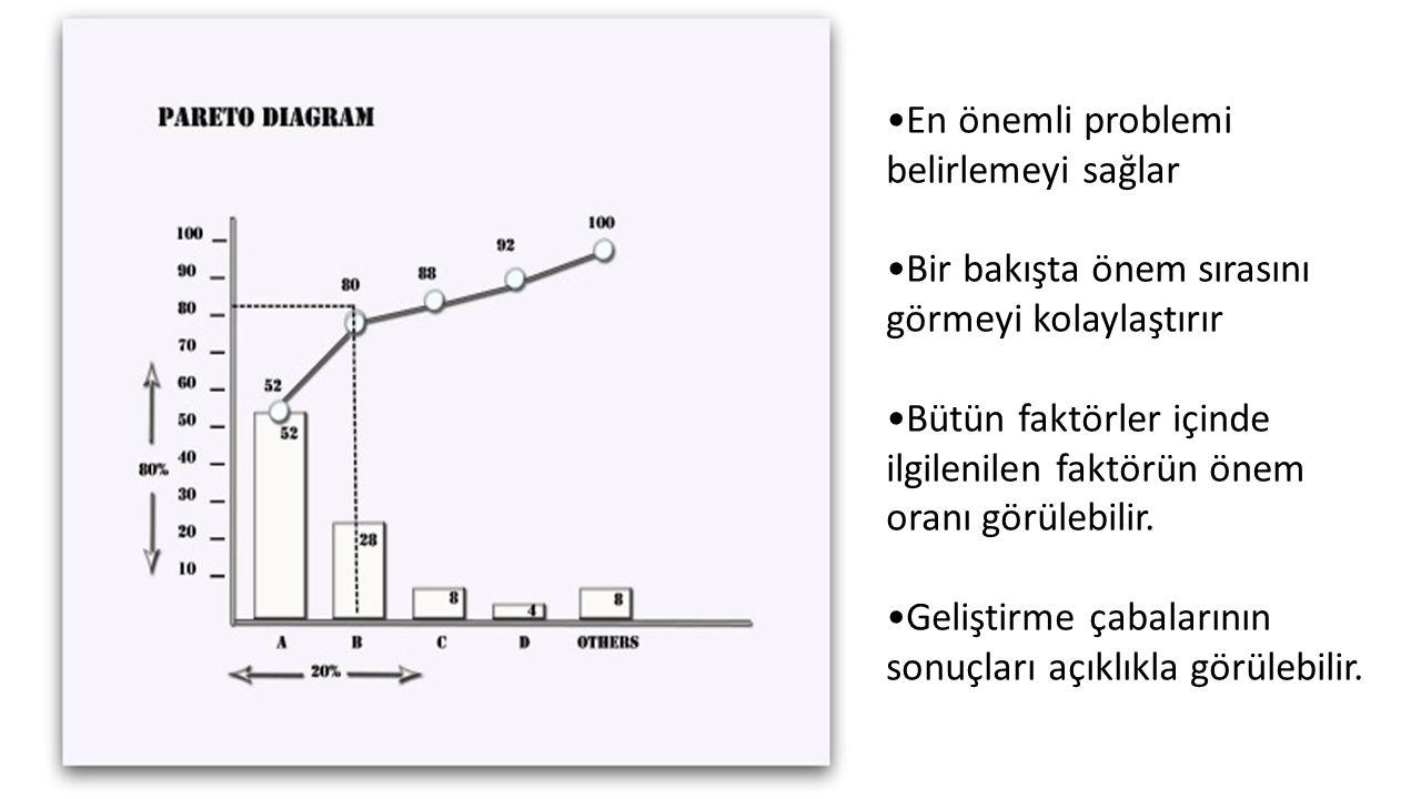 En önemli problemi belirlemeyi sağlar Bir bakışta önem sırasını görmeyi kolaylaştırır Bütün faktörler içinde ilgilenilen faktörün önem oranı görülebil