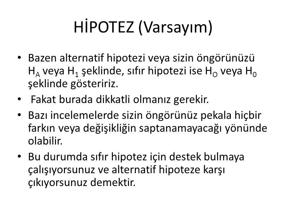 HİPOTEZ (Varsayım) Bazen alternatif hipotezi veya sizin öngörünüzü H A veya H 1 şeklinde, sıfır hipotezi ise H O veya H 0 şeklinde gösteririz.