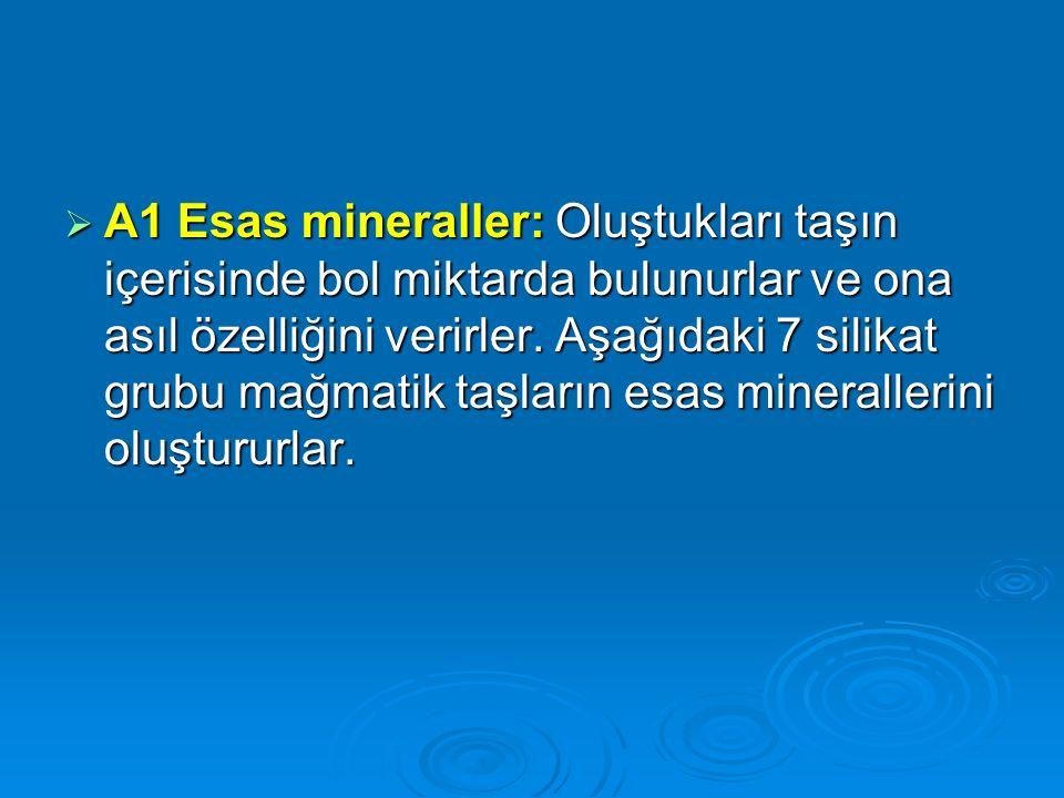  A1 Esas mineraller: Oluştukları taşın içerisinde bol miktarda bulunurlar ve ona asıl özelliğini verirler. Aşağıdaki 7 silikat grubu mağmatik taşları