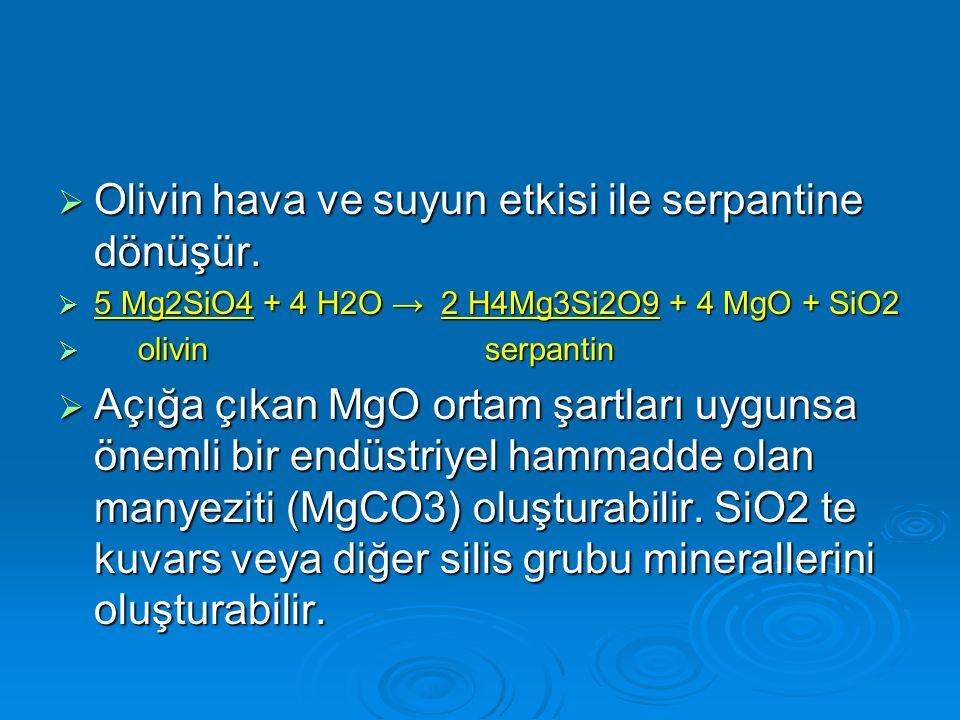 Olivin hava ve suyun etkisi ile serpantine dönüşür.  5 Mg2SiO4 + 4 H2O → 2 H4Mg3Si2O9 + 4 MgO + SiO2  olivin serpantin  Açığa çıkan MgO ortam şar