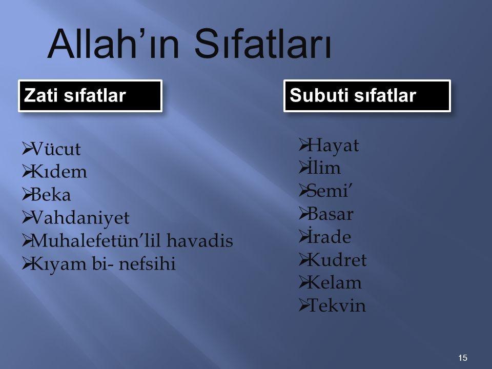 Zati sıfatlar 15 Allah'ın Sıfatları Subuti sıfatlar  Vücut  Kıdem  Beka  Vahdaniyet  Muhalefetün'lil havadis  Kıyam bi- nefsihi  Hayat  İlim 