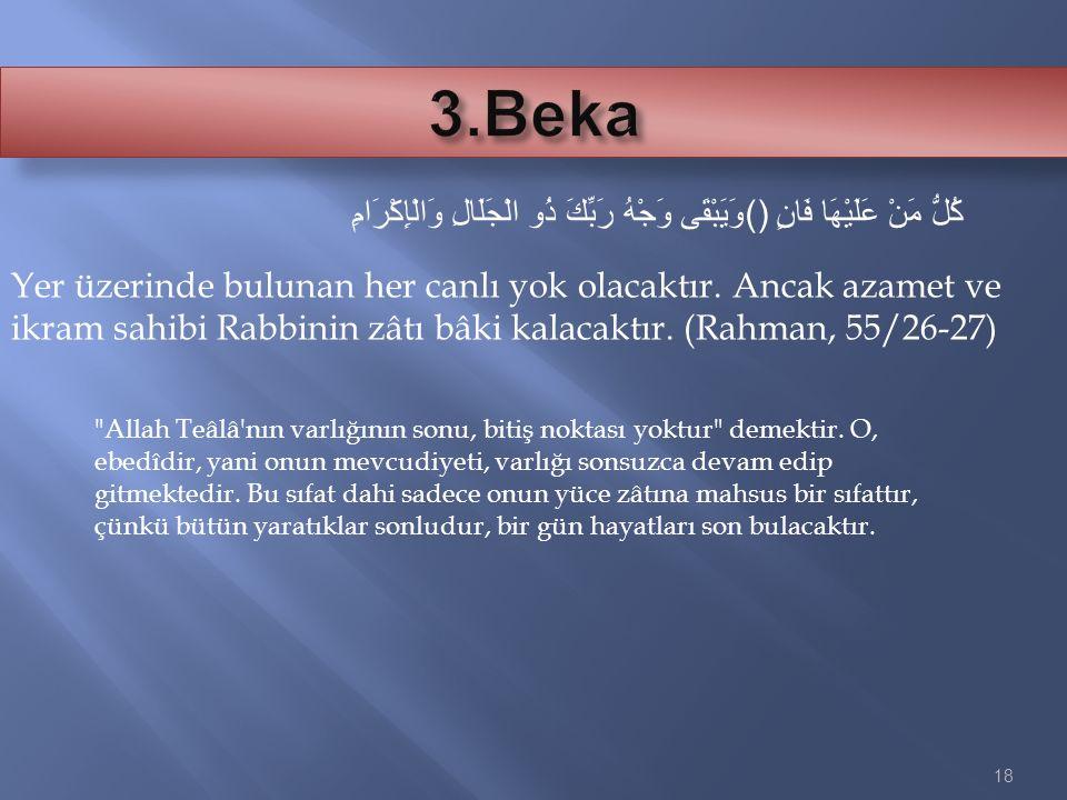 18 وَيَبْقَى وَجْهُ رَبِّكَ ذُو الْجَلَالِ وَالْإِكْرَامِ() كُلُّ مَنْ عَلَيْهَا فَانٍ Yer üzerinde bulunan her canlı yok olacaktır. Ancak azamet ve i