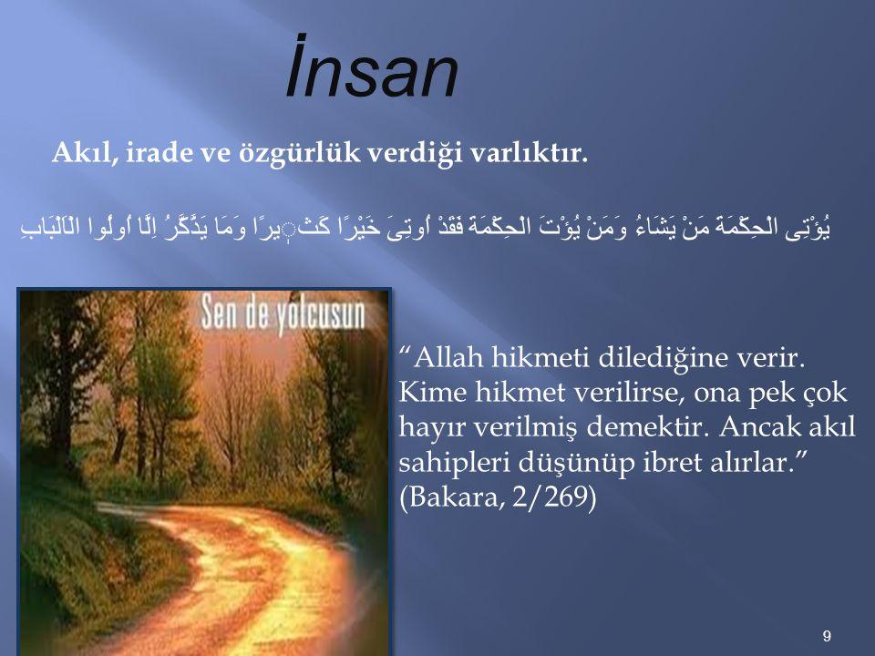 "9 İnsan يُؤْتِى الْحِكْمَةَ مَنْ يَشَاءُ وَمَنْ يُؤْتَ الْحِكْمَةَ فَقَدْ اُوتِىَ خَيْرًا كَثيرًا وَمَا يَذَّكَّرُ اِلَّا اُولُوا الْاَلْبَابِ ""Allah"