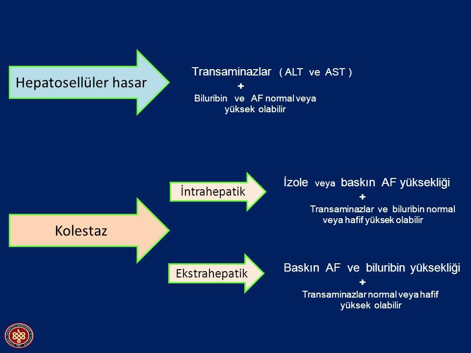 Hepatosellüler hasar Kolestaz Transaminazlar ( ALT ve AST ) + Biluribin ve AF normal veya yüksek olabilir İntrahepatik Ekstrahepatik İzole veya baskın AF yüksekliği + Transaminazlar ve biluribin normal veya hafif yüksek olabilir Baskın AF ve biluribin yüksekliği + Transaminazlar normal veya hafif yüksek olabilir