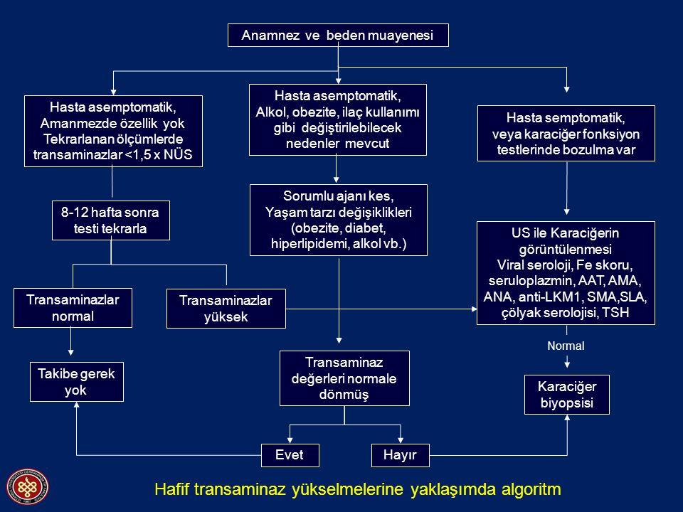 Anamnez ve beden muayenesi Hasta asemptomatik, Amanmezde özellik yok Tekrarlanan ölçümlerde transaminazlar <1,5 x NÜS 8-12 hafta sonra testi tekrarla Transaminaz değerleri normale dönmüş Transaminazlar normal Takibe gerek yok Hasta asemptomatik, Alkol, obezite, ilaç kullanımı gibi değiştirilebilecek nedenler mevcut Hasta semptomatik, veya karaciğer fonksiyon testlerinde bozulma var Sorumlu ajanı kes, Yaşam tarzı değişiklikleri (obezite, diabet, hiperlipidemi, alkol vb.) US ile Karaciğerin görüntülenmesi Viral seroloji, Fe skoru, seruloplazmin, AAT, AMA, ANA, anti-LKM1, SMA,SLA, çölyak serolojisi, TSH Transaminazlar yüksek EvetHayır Karaciğer biyopsisi Normal Hafif transaminaz yükselmelerine yaklaşımda algoritm