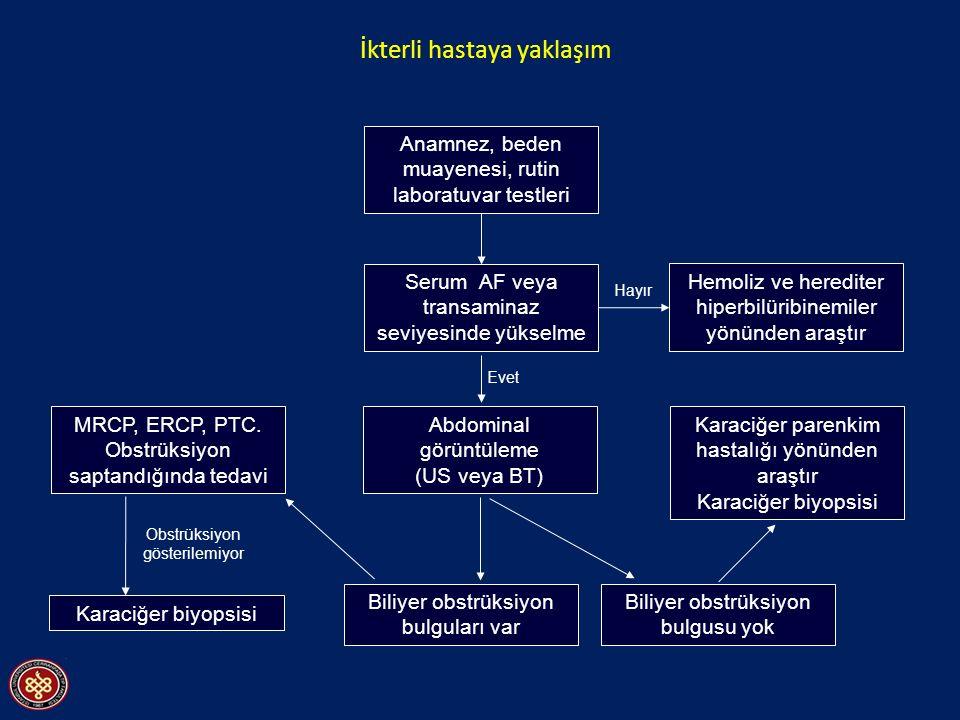İkterli hastaya yaklaşım Anamnez, beden muayenesi, rutin laboratuvar testleri MRCP, ERCP, PTC. Obstrüksiyon saptandığında tedavi Serum AF veya transam