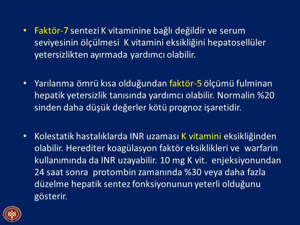 Faktör-7 sentezi K vitaminine bağlı değildir ve serum seviyesinin ölçülmesi K vitamini eksikliğini hepatosellüler yetersizlikten ayırmada yardımcı ola