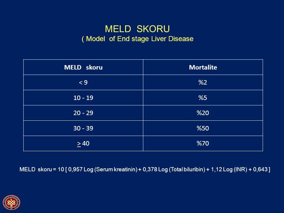 MELD skoruMortalite < 9%2 10 - 19%5 20 - 29%20 30 - 39%50 > 40%70 MELD skoru = 10 [ 0,957 Log (Serum kreatinin) + 0,378 Log (Total biluribin) + 1,12 Log (INR) + 0,643 ] MELD SKORU ( Model of End stage Liver Disease