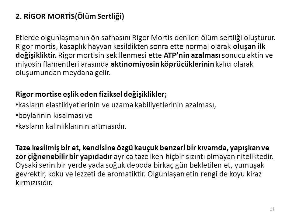 2. RİGOR MORTİS(Ölüm Sertliği) Etlerde olgunlaşmanın ön safhasını Rigor Mortis denilen ölüm sertliği oluşturur. Rigor mortis, kasaplık hayvan kesildik