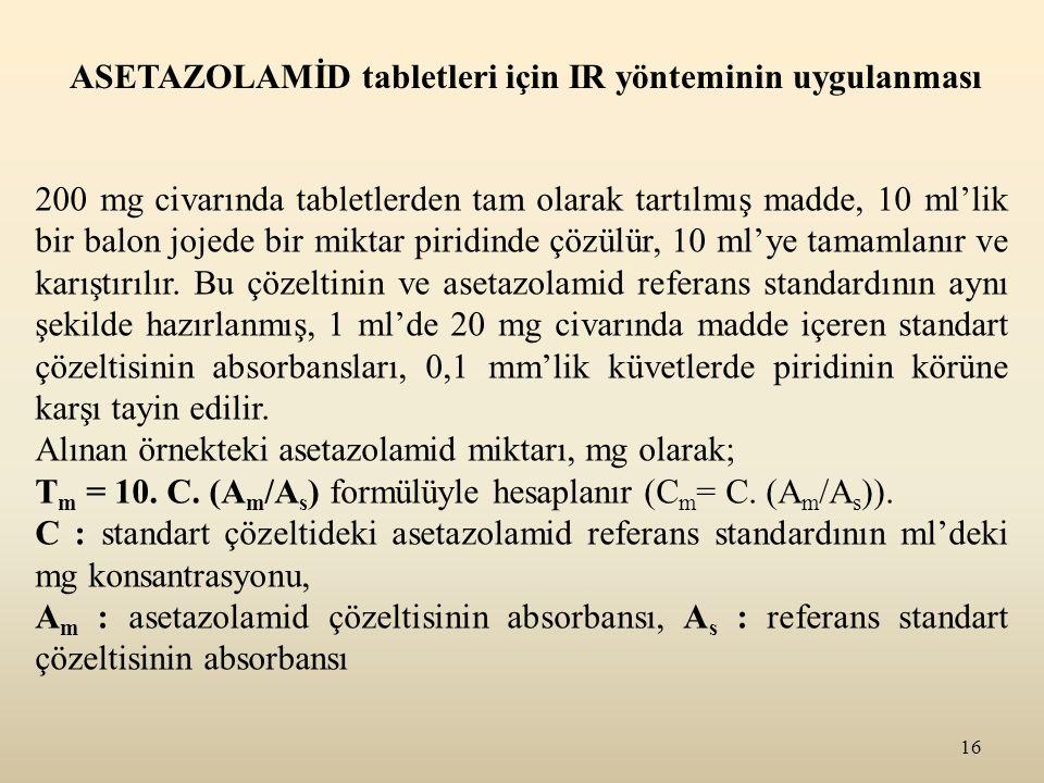 16 ASETAZOLAMİD tabletleri için IR yönteminin uygulanması 200 mg civarında tabletlerden tam olarak tartılmış madde, 10 ml'lik bir balon jojede bir mik