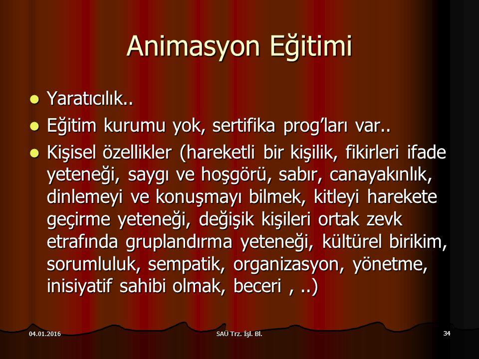 SAÜ Trz.İşl. Bl. 34 04.01.2016 Animasyon Eğitimi Yaratıcılık..