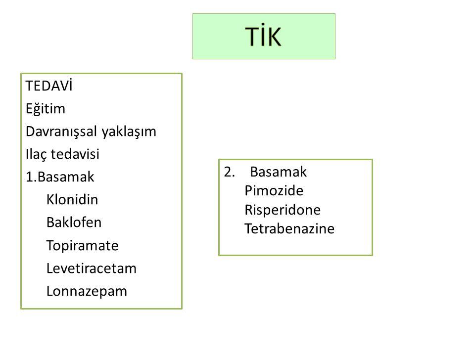 TEDAVİ Eğitim Davranışsal yaklaşım Ilaç tedavisi 1.Basamak Klonidin Baklofen Topiramate Levetiracetam Lonnazepam 2. Basamak Pimozide Risperidone Tetra