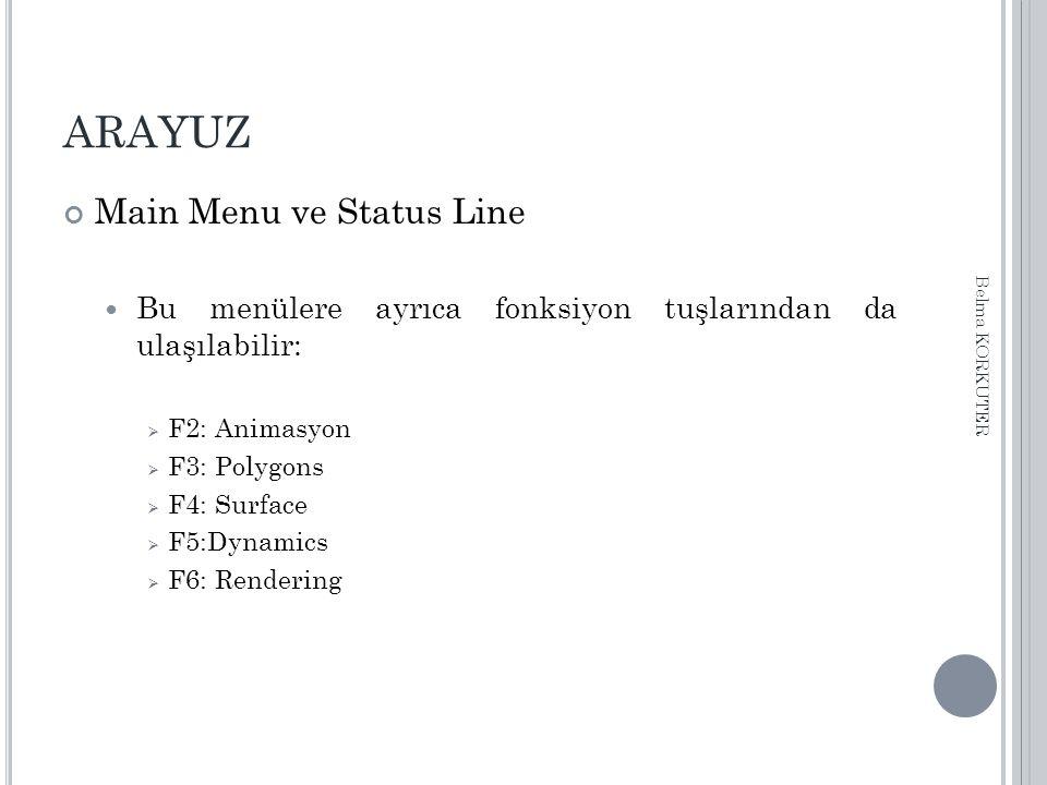 ARAYUZ Main Menu ve Status Line Bu menülere ayrıca fonksiyon tuşlarından da ulaşılabilir:  F2: Animasyon  F3: Polygons  F4: Surface  F5:Dynamics 
