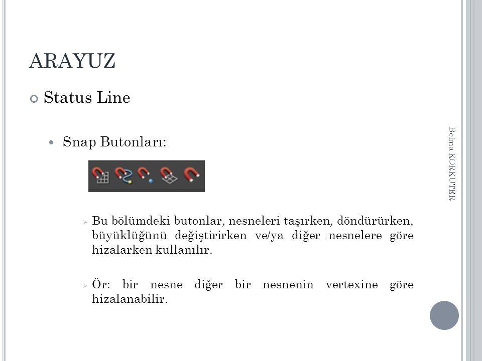 ARAYUZ Status Line Snap Butonları:  Bu bölümdeki butonlar, nesneleri taşırken, döndürürken, büyüklüğünü değiştirirken ve/ya diğer nesnelere göre hizalarken kullanılır.