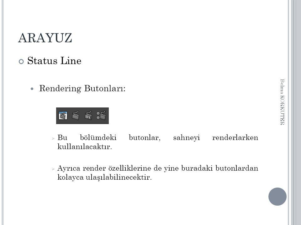 ARAYUZ Status Line Rendering Butonları:  Bu bölümdeki butonlar, sahneyi renderlarken kullanılacaktır.
