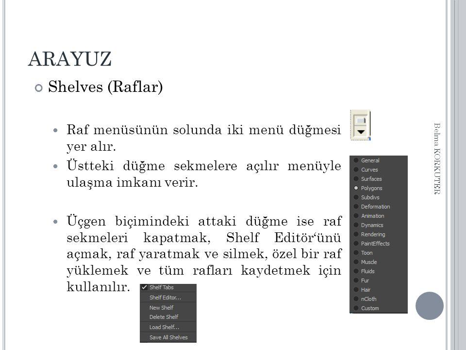 ARAYUZ Shelves (Raflar) Raf menüsünün solunda iki menü düğmesi yer alır.