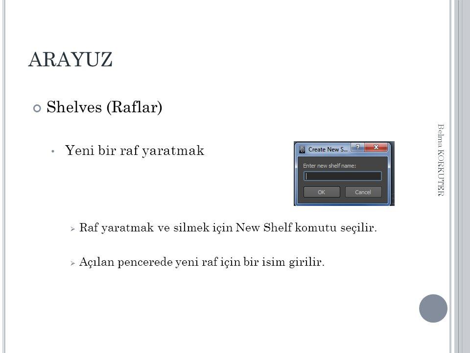ARAYUZ Shelves (Raflar) Yeni bir raf yaratmak  Raf yaratmak ve silmek için New Shelf komutu seçilir.