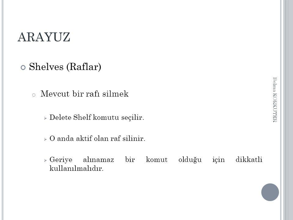 ARAYUZ Shelves (Raflar) o Mevcut bir rafı silmek  Delete Shelf komutu seçilir.