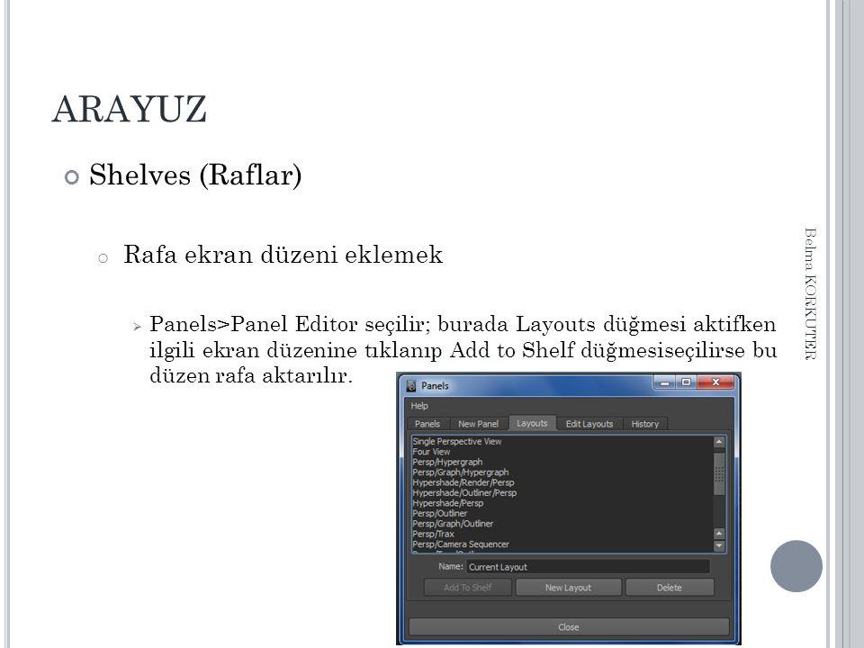 ARAYUZ Shelves (Raflar) o Rafa ekran düzeni eklemek  Panels>Panel Editor seçilir; burada Layouts düğmesi aktifken ilgili ekran düzenine tıklanıp Add to Shelf düğmesiseçilirse bu düzen rafa aktarılır.