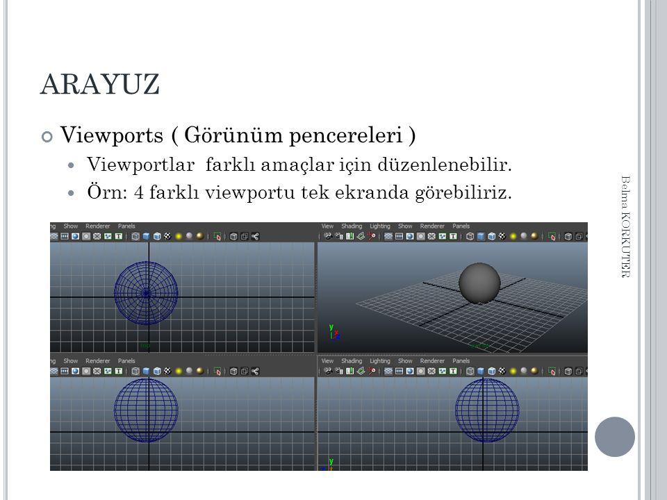 ARAYUZ Viewports ( Görünüm pencereleri ) Viewportlar farklı amaçlar için düzenlenebilir. Örn: 4 farklı viewportu tek ekranda görebiliriz. Belma KORKUT