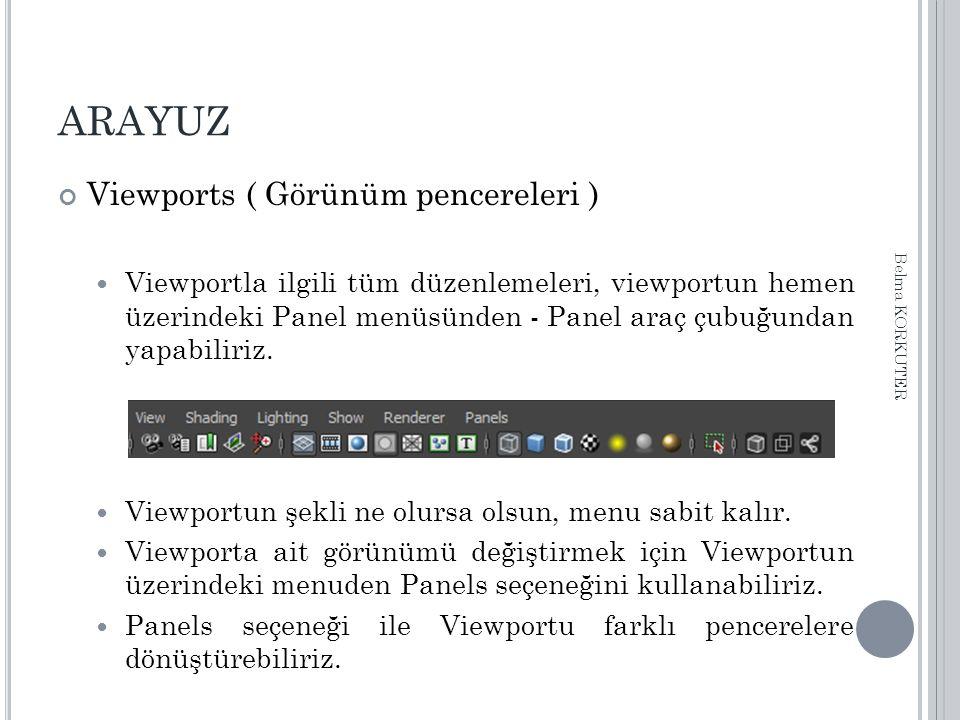 ARAYUZ Viewports ( Görünüm pencereleri ) Viewportla ilgili tüm düzenlemeleri, viewportun hemen üzerindeki Panel menüsünden - Panel araç çubuğundan yap