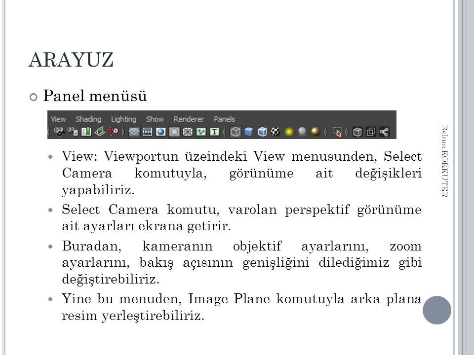 ARAYUZ Panel menüsü View: Viewportun üzeindeki View menusunden, Select Camera komutuyla, görünüme ait değişikleri yapabiliriz. Select Camera komutu, v
