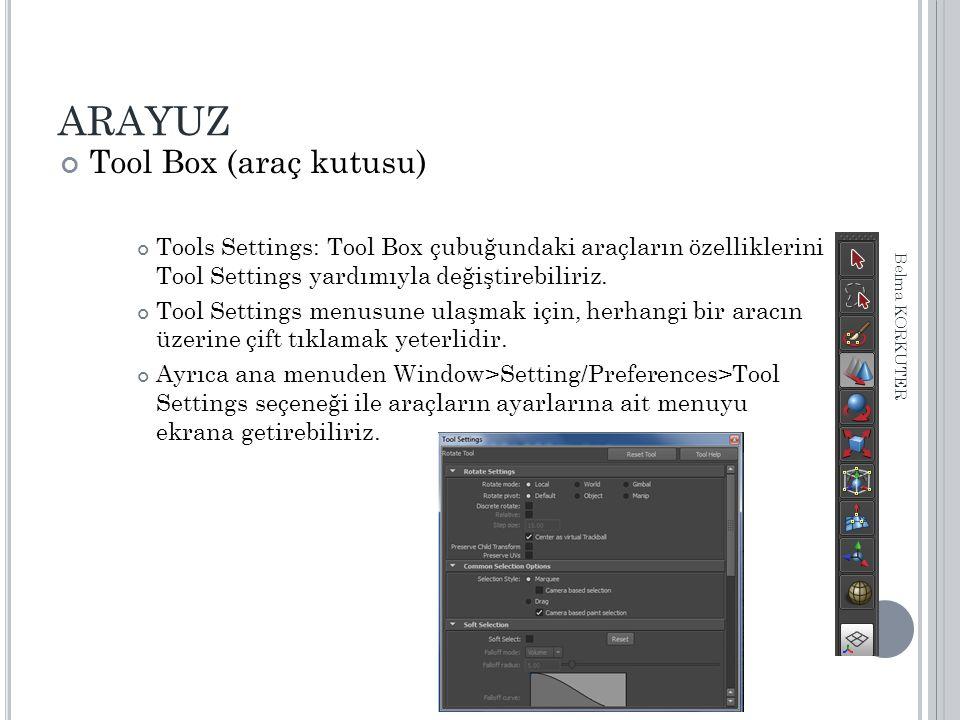 ARAYUZ Tool Box (araç kutusu) Tools Settings: Tool Box çubuğundaki araçların özelliklerini Tool Settings yardımıyla değiştirebiliriz. Tool Settings me