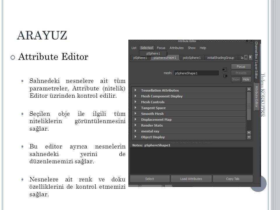 ARAYUZ Attribute Editor Sahnedeki nesnelere ait tüm parametreler, Attribute (nitelik) Editor üzrinden kontrol edilir. Seçilen obje ile ilgili tüm nite