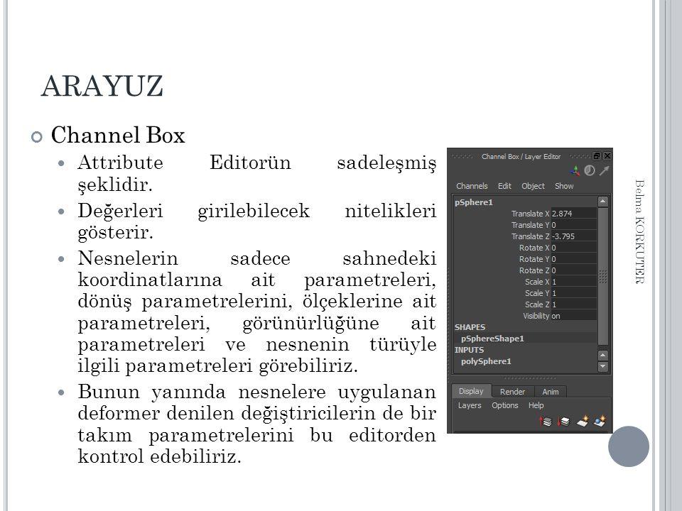ARAYUZ Channel Box Attribute Editorün sadeleşmiş şeklidir. Değerleri girilebilecek nitelikleri gösterir. Nesnelerin sadece sahnedeki koordinatlarına a