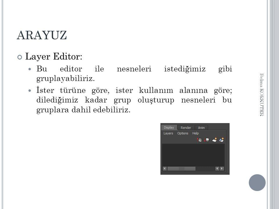 ARAYUZ Layer Editor: Bu editor ile nesneleri istediğimiz gibi gruplayabiliriz. İster türüne göre, ister kullanım alanına göre; dilediğimiz kadar grup