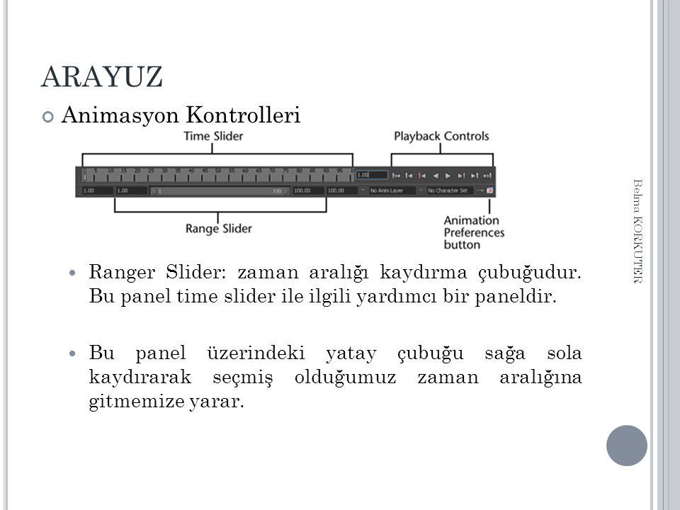ARAYUZ Animasyon Kontrolleri Ranger Slider: zaman aralığı kaydırma çubuğudur. Bu panel time slider ile ilgili yardımcı bir paneldir. Bu panel üzerinde