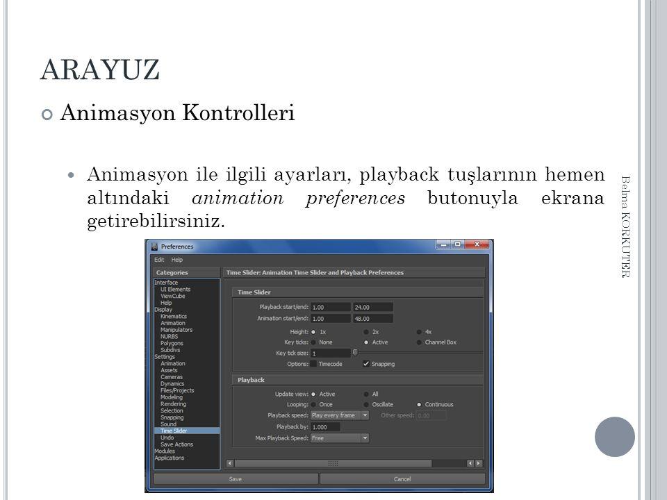 ARAYUZ Animasyon Kontrolleri Animasyon ile ilgili ayarları, playback tuşlarının hemen altındaki animation preferences butonuyla ekrana getirebilirsiniz.
