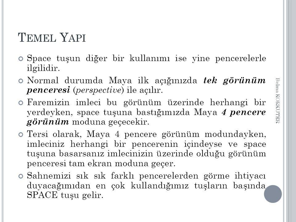 T EMEL Y API Space tuşun diğer bir kullanımı ise yine pencerelerle ilgilidir. Normal durumda Maya ilk açığınızda tek görünüm penceresi ( perspective )