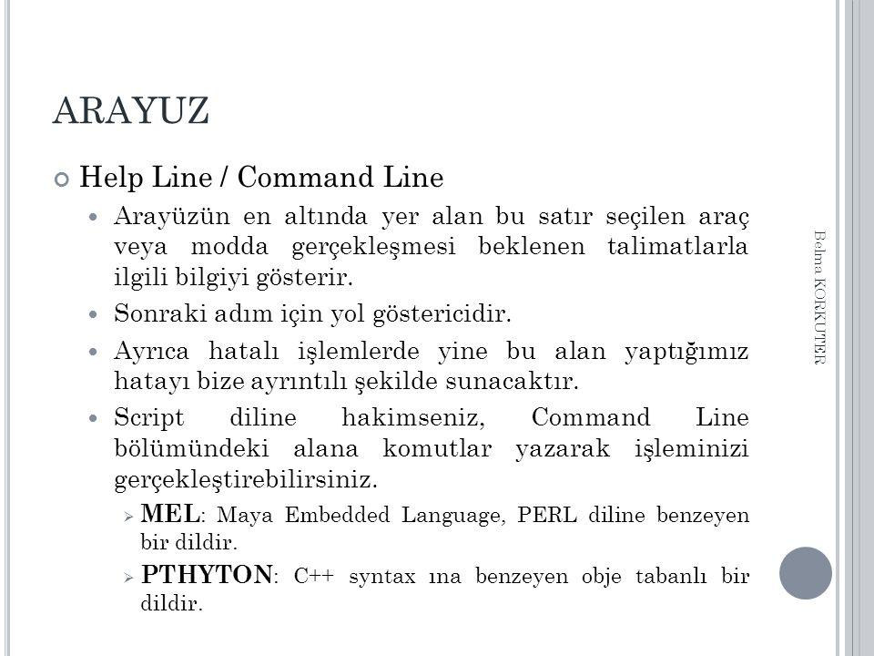 ARAYUZ Help Line / Command Line Arayüzün en altında yer alan bu satır seçilen araç veya modda gerçekleşmesi beklenen talimatlarla ilgili bilgiyi gösterir.