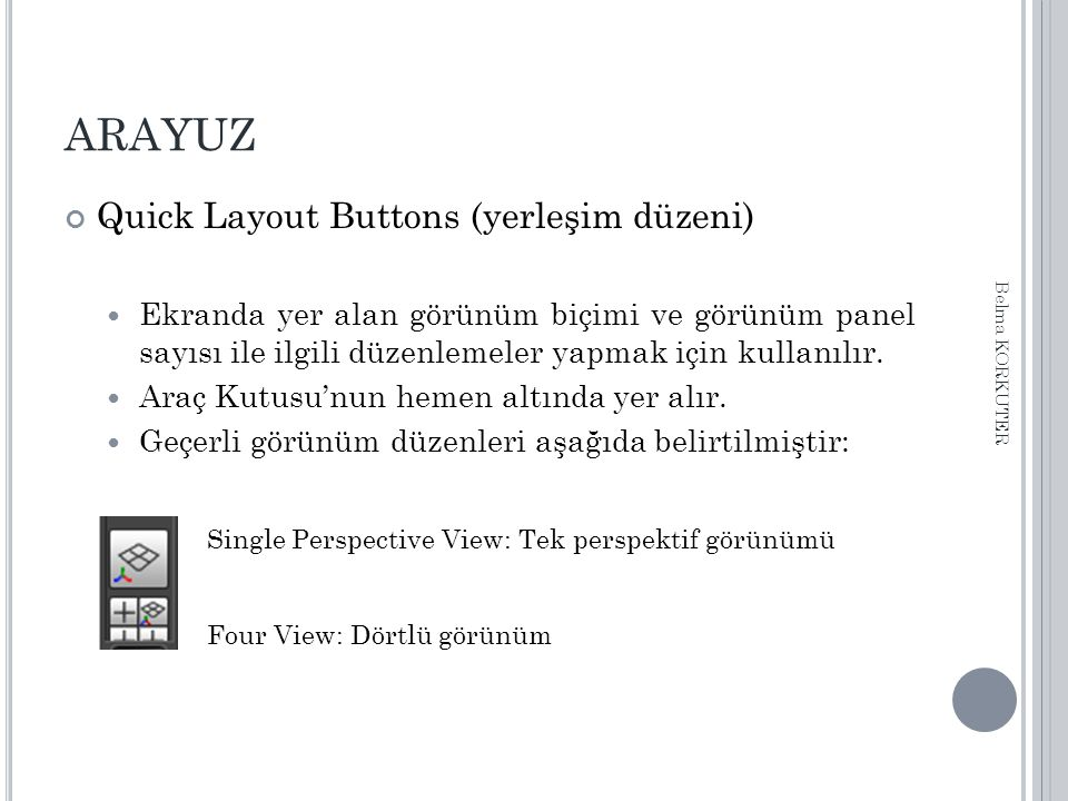 ARAYUZ Quick Layout Buttons (yerleşim düzeni) Ekranda yer alan görünüm biçimi ve görünüm panel sayısı ile ilgili düzenlemeler yapmak için kullanılır.