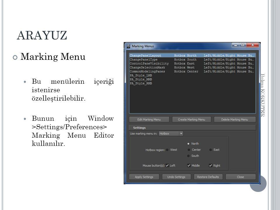 ARAYUZ Marking Menu Bu menülerin içeriği istenirse özelleştirilebilir. Bunun için Window >Settings/Preferences> Marking Menu Editor kullanılır. Belma