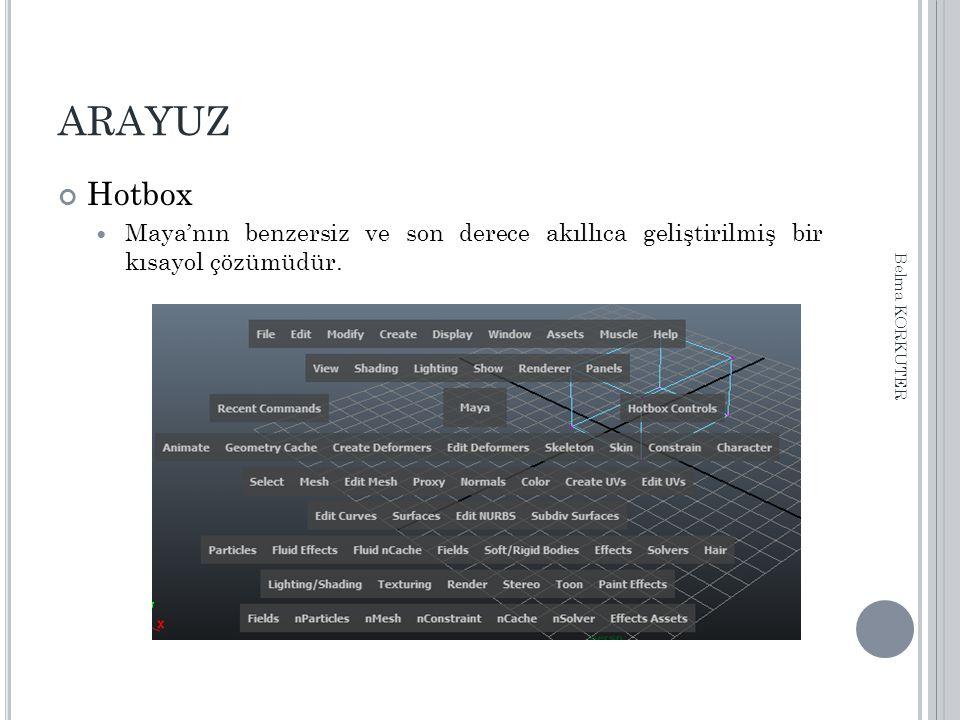 ARAYUZ Hotbox Maya'nın benzersiz ve son derece akıllıca geliştirilmiş bir kısayol çözümüdür. Belma KORKUTER