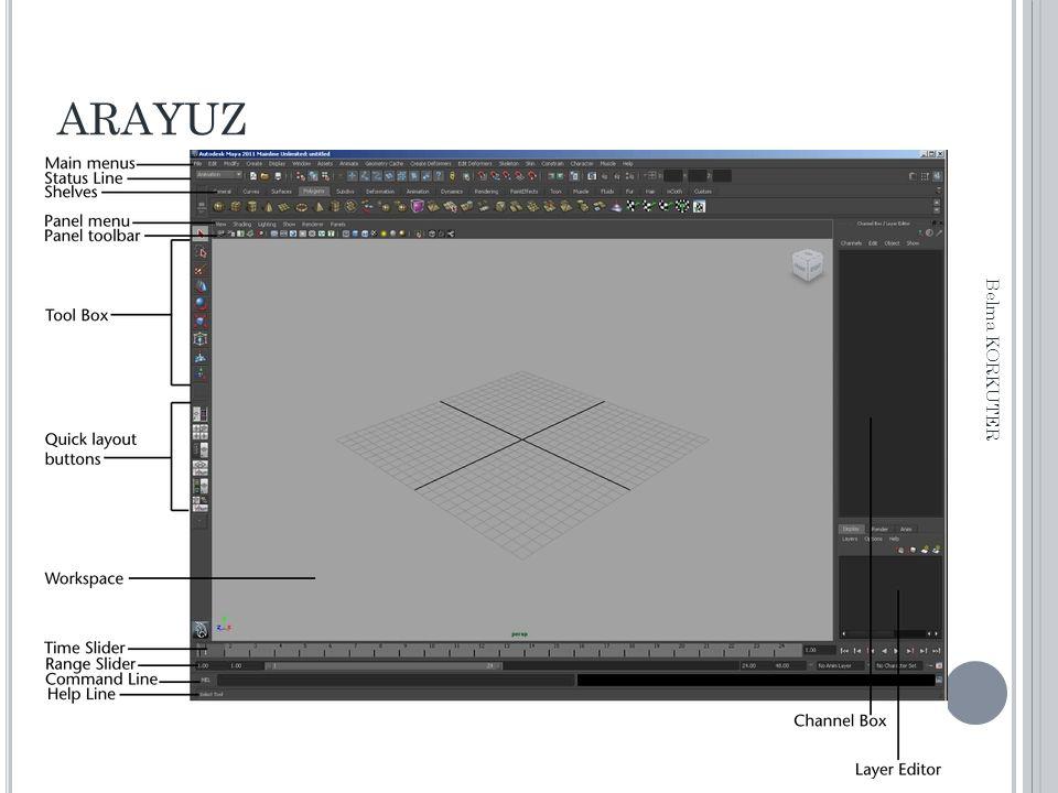ARAYUZ Animasyon Kontrolleri Animasyon ayarlarına ait özellikler: Key tick size : Animasyonda kullanılan keyframelerin (anahtar kare) ekrandaki büyüklüğünü ayarlar.