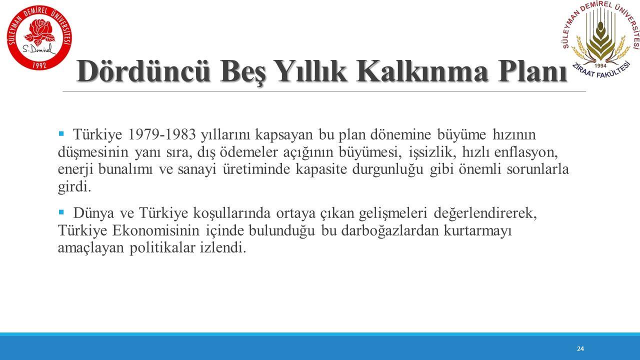Dördüncü Beş Yıllık Kalkınma Planı  Türkiye 1979-1983 yıllarını kapsayan bu plan dönemine büyüme hızının düşmesinin yanı sıra, dış ödemeler açığının