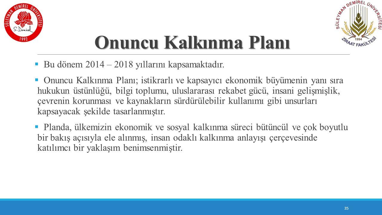 Onuncu Kalkınma Planı  Bu dönem 2014 – 2018 yıllarını kapsamaktadır.  Onuncu Kalkınma Planı; istikrarlı ve kapsayıcı ekonomik büyümenin yanı sıra hu