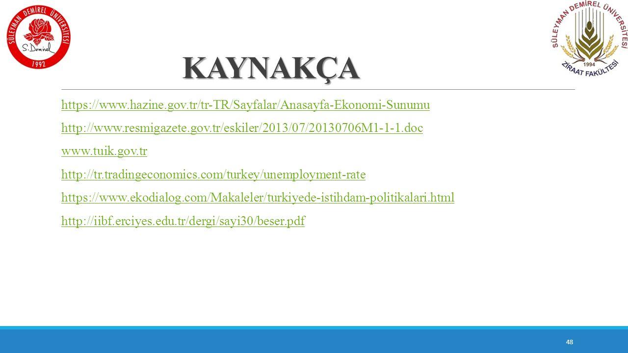 KAYNAKÇA https://www.hazine.gov.tr/tr-TR/Sayfalar/Anasayfa-Ekonomi-Sunumu http://www.resmigazete.gov.tr/eskiler/2013/07/20130706M1-1-1.doc www.tuik.go