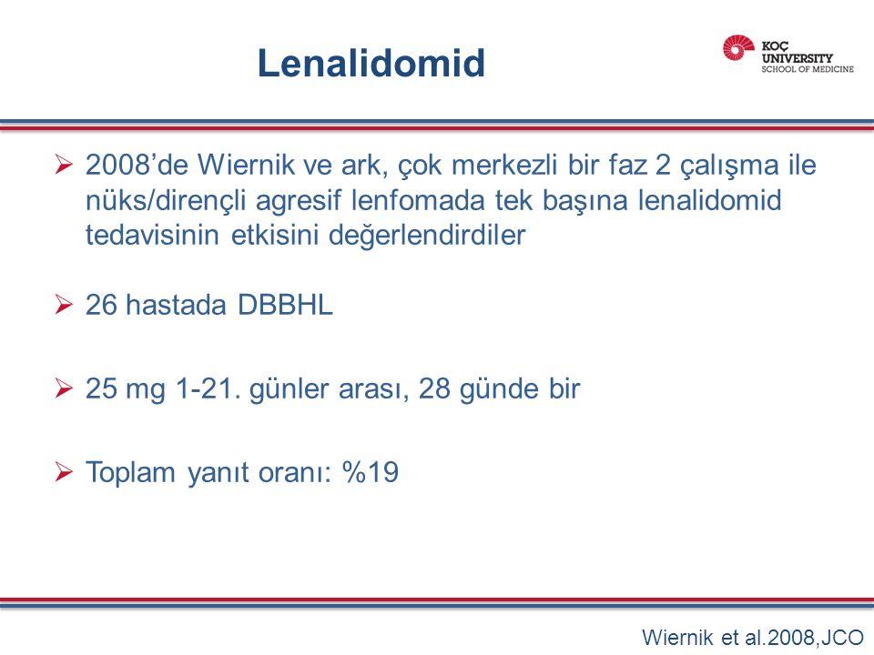 Lenalidomid  2008'de Wiernik ve ark, çok merkezli bir faz 2 çalışma ile nüks/dirençli agresif lenfomada tek başına lenalidomid tedavisinin etkisini değerlendirdiler  26 hastada DBBHL  25 mg 1-21.