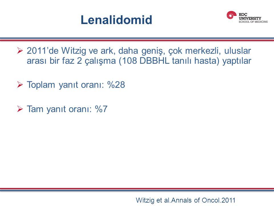 Lenalidomid  2011'de Witzig ve ark, daha geniş, çok merkezli, uluslar arası bir faz 2 çalışma (108 DBBHL tanılı hasta) yaptılar  Toplam yanıt oranı: %28  Tam yanıt oranı: %7 Witzig et al.Annals of Oncol.2011
