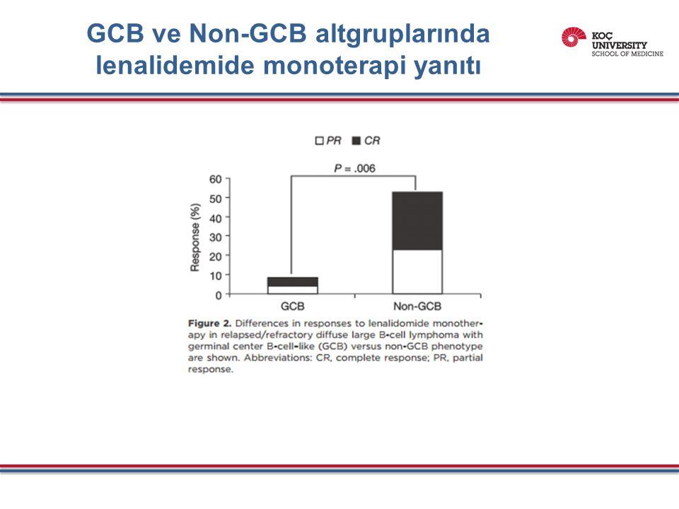 GCB ve Non-GCB altgruplarında lenalidemide monoterapi yanıtı
